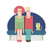 Man and woman on the couch Stock Images