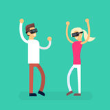 Man Woman Coupe Wear Virtual Reality Digital Glasses Headset Dancing Royalty Free Stock Photography