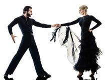 Man woman couple ballroom tango salsa dancer dancing silhouette Royalty Free Stock Images