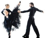 Man woman couple ballroom tango salsa dancer dancing silhouette Stock Images
