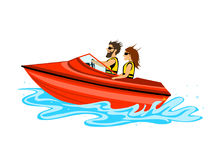 Man and woman, couple driving speed boat Royalty Free Stock Photos