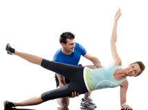 Man woman couple exercising workout Body Building Stock Photo