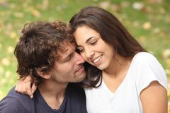 Man and woman couple flirting Stock Images