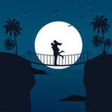 Man woman couple hug silhouette with moon in the background at bridge romantic scene Stock Photo