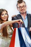 Man, woman couple shopping portrait. Shopping bags Royalty Free Stock Images