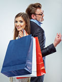 Man, woman couple shopping portrait. Shopping bags Royalty Free Stock Photography