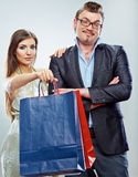 Man, woman couple shopping portrait. Shopping bags Royalty Free Stock Image