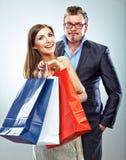 Man, woman couple shopping portrait. Shopping bags Royalty Free Stock Photo