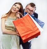 Man, woman couple shopping portrait. Shopping bags Stock Photo