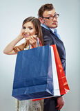 Man, woman couple shopping portrait. Shopping bags Stock Image