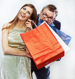 Man, woman couple shopping portrait. Shopping bags Royalty Free Stock Photos