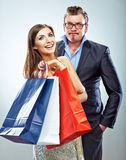 Man, woman couple shopping portrait. Shopping bags Stock Photography