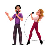 Man and woman, couple singing together, karaoke party, contest, competition Royalty Free Stock Photography