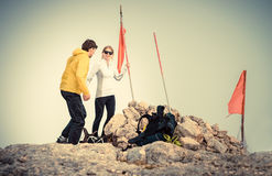 Man and Woman couple Travelers on Mountain summit Royalty Free Stock Image