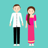 Man woman couple wear philippines tradional costume dress cartoon Royalty Free Stock Photography
