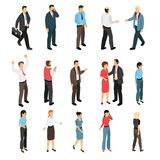 Man And Woman Creation Set. Man and woman creation isometric set with male and female figurines expressing emotions talking meeting going isolated vector Royalty Free Stock Photography