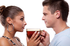 Man and woman with cup of tea Stock Photos