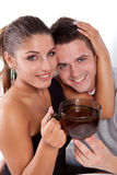 Man and woman with cup of tea Stock Image