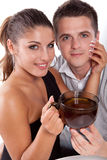 Man and woman with cup of tea Royalty Free Stock Image