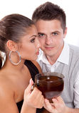 Man and woman with cup of tea stock photo