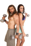 Man and woman curl back to back Royalty Free Stock Image