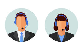 Man And Woman Customer Support, Service Avatars. Male and female online customer support, service icons. Man and woman call center operator avatars. Flat design Royalty Free Stock Images