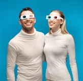 Man and woman with 3d glasses Royalty Free Stock Photos