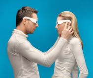 Man and woman with 3d glasses Stock Photography