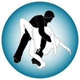 Man and woman dancers. Vector of man and woman dancing in black and white against a graduated blue circle Royalty Free Stock Photo