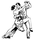 Man and woman dancing couple tango retro line art Royalty Free Stock Photos