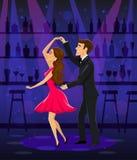 Man and woman dancing in disco bar night club Stock Photo