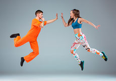 The man, woman dancing hip hop choreography Royalty Free Stock Photography