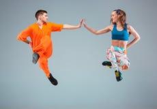 The man, woman dancing hip hop choreography Royalty Free Stock Photos
