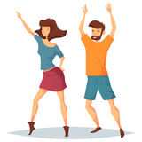 Man and woman dancing at music club or disco Stock Photos