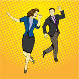 Man and woman dancing with paper documents flying around. Vector illustration in comics retro pop art style stock illustration