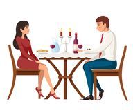 Man and woman on date in restaurant. Meeting love couple. Table with red wine bottle, candelabra and italian pasta. Cartoon. Character design. Flat royalty free illustration