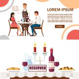 Man and woman on date in restaurant, waiter with menu. Table with red wine bottle, candelabra and italian pasta. Cartoon character. Design. Flat  illustration vector illustration