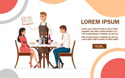 Man and woman on date in restaurant, waiter with menu. Table with red wine bottle, candelabra and italian pasta. Cartoon character. Design. Flat  illustration royalty free illustration