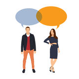 Man and Woman dialogue. Corparate People. Vector Illustration. Stock Photography