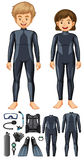 Man and woman with different scuba diving gears Stock Photography