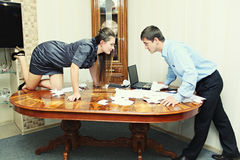 Man and woman dispute in the office Stock Photo