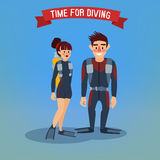 Man and Woman Divers. Time for Diving. Travel Banner Stock Photography