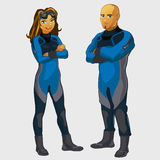 Man and woman divers, two character isolated Royalty Free Stock Image