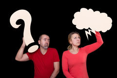 Man and woman do not understand each other Royalty Free Stock Photo