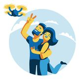 A man and a woman do selfie with a quadroopter. royalty free illustration