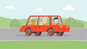 Man woman with dog going by car vector illustration