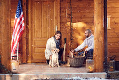 Man and woman with dog Stock Photos