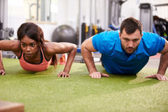 Man and a woman doing push ups at a gym Stock Image