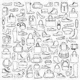 Man and woman doodle shoes and bags Stock Image