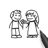 Man and woman in doodles style. Man giving woman flowers, couple, boy and girl, Happy Womens Day holiday, romantic date, vector illustration in doodle style Stock Image